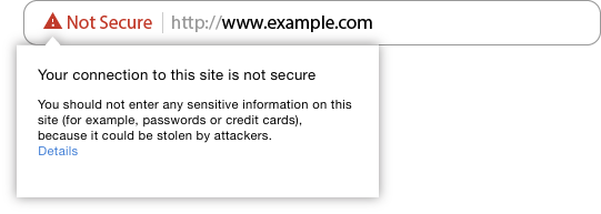 Not Secure Image by google